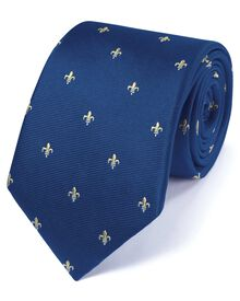 Royal and yellow silk classic Fleur-de-Lys tie