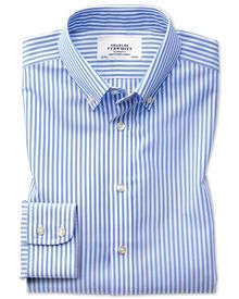 Classic fit button-down non-iron sky blue stripe shirt
