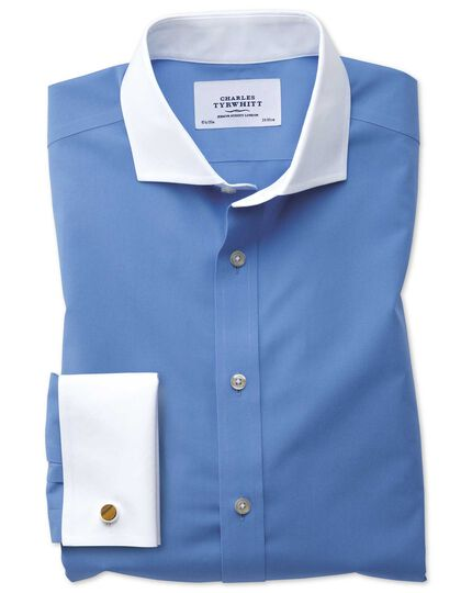 Slim fit cutaway non-iron Winchester blue shirt
