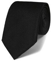 Black silk plain classic tie