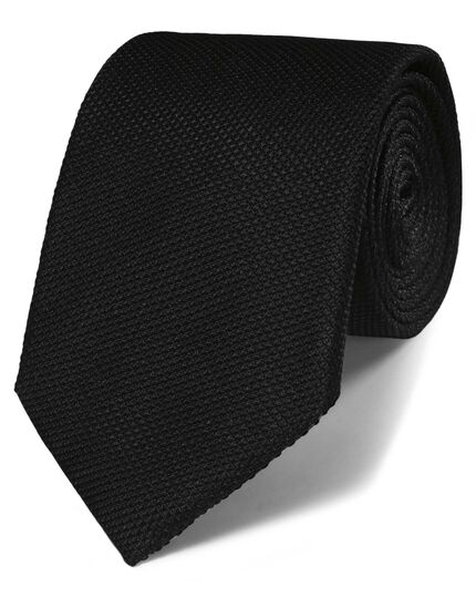 Black silk classic plain tie
