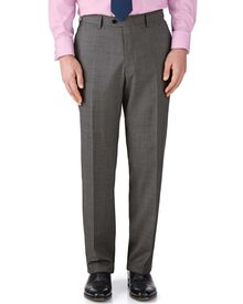 Grey classic fit end-on-end business suit trousers