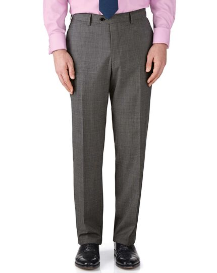 Grey classic fit end-on-end business suit pants