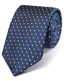 Navy and grey silk luxury English hexagon tie
