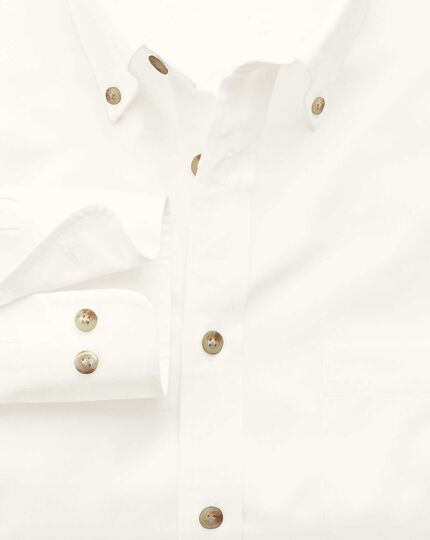Extra slim fit non-iron twill white plain shirt