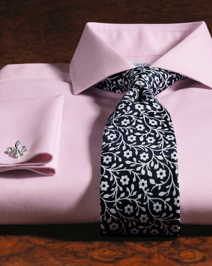 Navy and white silk end-on-end luxury tie
