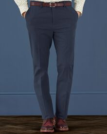 Air force blue slim fit cotton flannel trousers