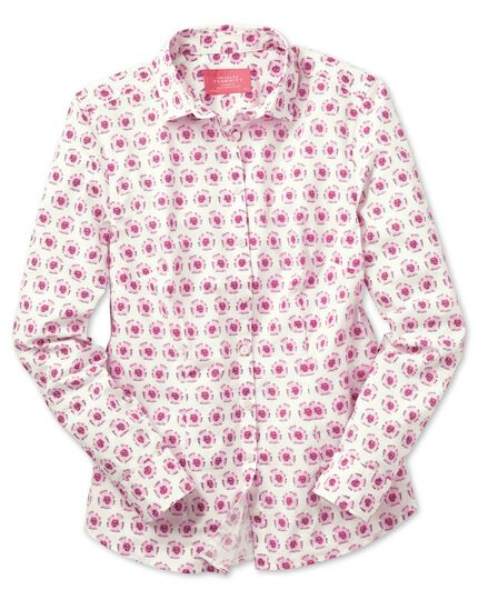 Women's semi-fitted pink and white abstract floral print shirt