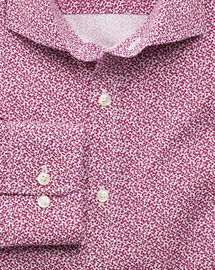 Extra slim fit pink all over spot print shirt