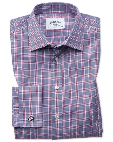 Classic fit non-iron Prince of Wales berry and navy blue shirt