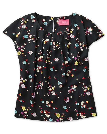 Women's semi-fitted black multi floral print shell top