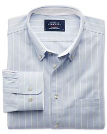 Extra slim fit sky blue stripe washed Oxford shirt