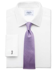 Slim fit non iron imperial weave white shirt
