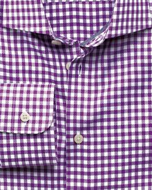 Slim fit semi-spread collar business casual dobby check purple shirt