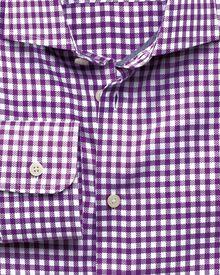 Slim fit semi-cutaway collar business casual dobby check purple shirt