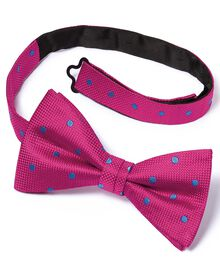 Pink silk spot classic ready-tied bow tie
