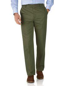 Pantalon chino vert coupe droite à devant plat sans repassage