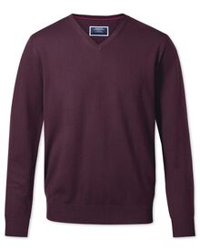 Wine merino wool v-neck sweater