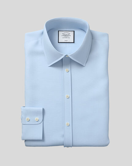 Classic fit non-iron poplin sky blue shirt