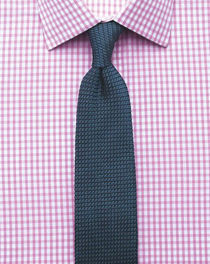 Slim fit gingham pink shirt