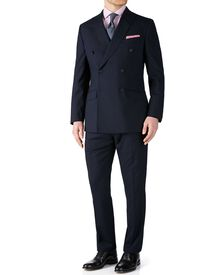 Navy slim fit flannel double breasted business suit