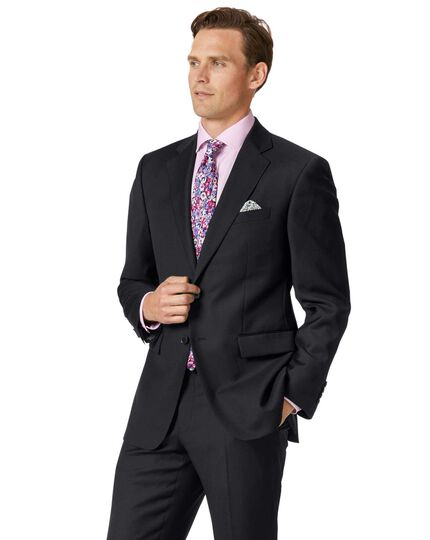 Classic Fit Businessanzug Sakko aus Twill in schwarz