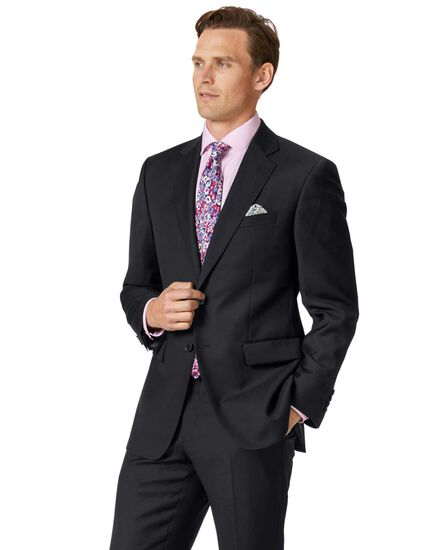 Black classic fit twill business suit jacket
