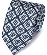 Navy and white silk printed lattice English luxury tie