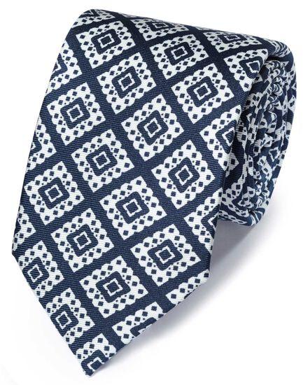 Navy and white silk printed lattice English luxury tie