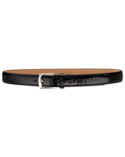 Black embossed croc formal belt