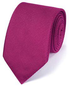 Fuchsia silk classic plain tie