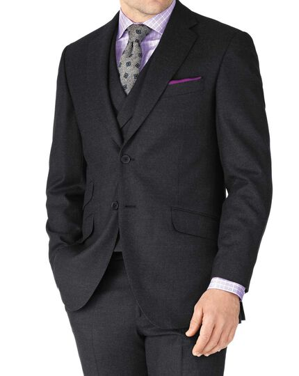 Charcoal classic fit British serge luxury suit jacket