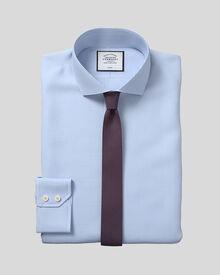 Extra slim fit spread collar non-iron puppytooth sky blue shirt