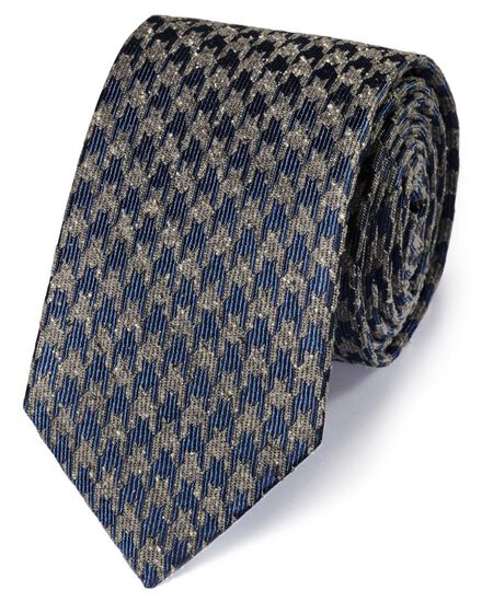 Navy and grey silk fleck houndstooth classic tie