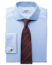 Slim fit cutaway collar non-iron textured herringbone sky blue blue shirt