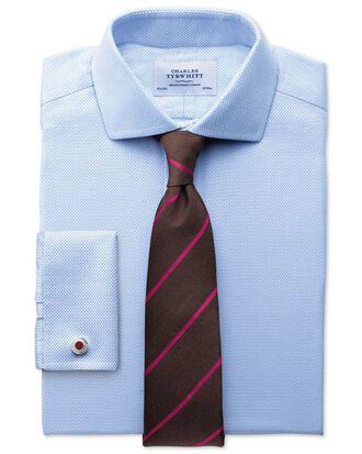 Slim fit cutaway collar non-iron textured herringbone sky blue shirt