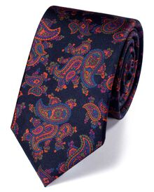 Slim navy silk print luxury tie