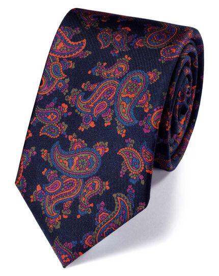 Slim navy silk print luxury tie