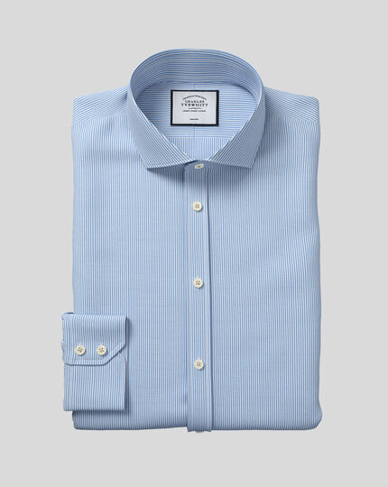 Slim fit spread collar non iron bengal stripe sky blue shirt