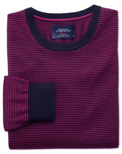 Navy and fuchsia merino stripe crew neck sweater