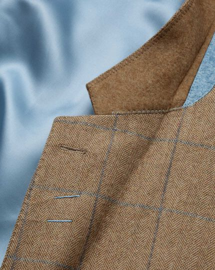 Classic fit tan check luxury border tweed jacket