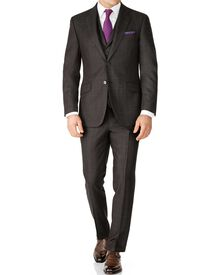 Dark grey check slim fit saxony business suit