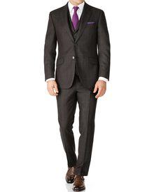 Dark grey check slim fit saxony business suit