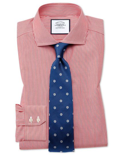 Extra slim fit spread collar non iron bengal stripe red shirt