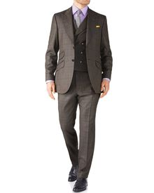 Brown check slim fit British Panama luxury suit