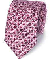 Berry silk end-on-end geometric classic tie