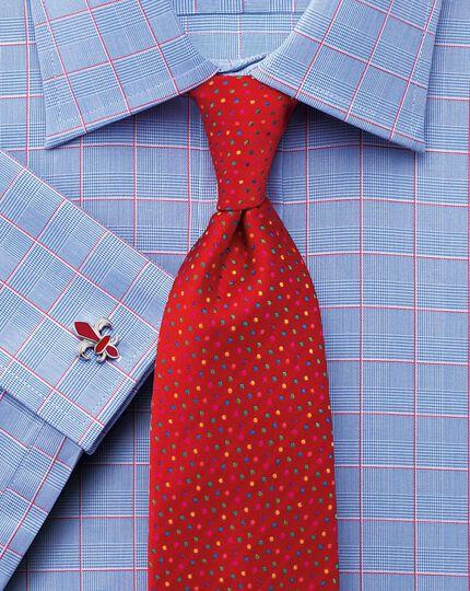 Slim fit Prince of Wales check pink satin shirt