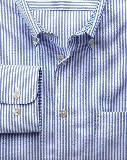 Slim fit non-iron Oxford royal blue bengal stripe shirt