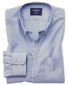 Extra slim fit non-iron Oxford royal blue bengal stripe shirt