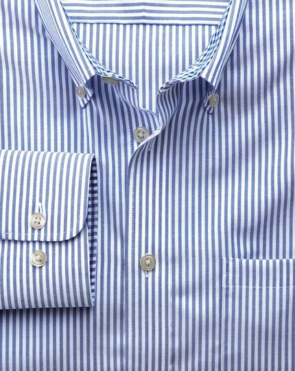 Extra slim fit non-iron Oxford royal blue bengal stripe shirt